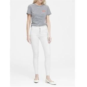 NWT - BR White High-Rise Skinny Button Fly Jean